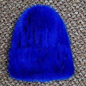 SALE Royal Blue Knitted Mink Fur Stretch Beanie